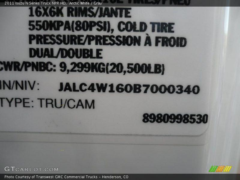 Arctic White / Gray 2011 Isuzu N Series Truck NPR HD