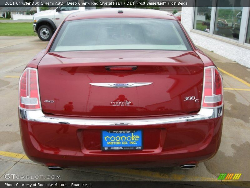 Deep Cherry Red Crystal Pearl / Dark Frost Beige/Light Frost Beige 2011 Chrysler 300 C Hemi AWD