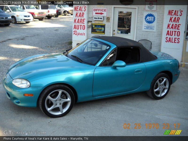 Splash Green Mica / Black 2003 Mazda MX-5 Miata Roadster