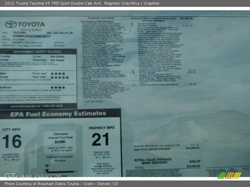2012 Tacoma V6 TRD Sport Double Cab 4x4 Window Sticker