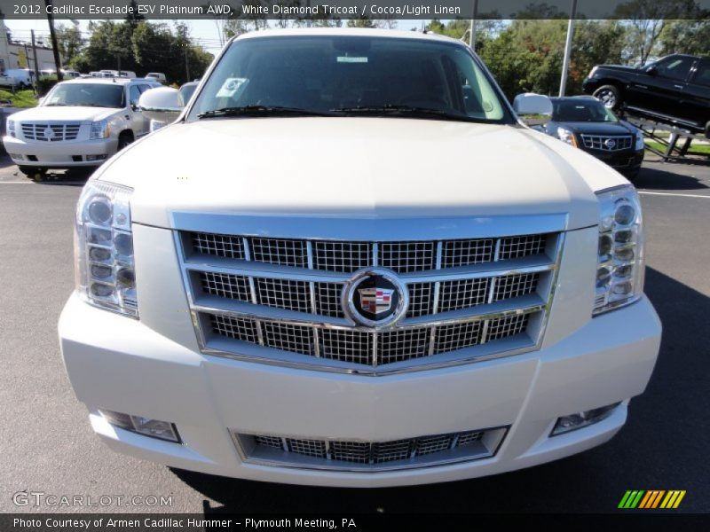 White Diamond Tricoat / Cocoa/Light Linen 2012 Cadillac Escalade ESV Platinum AWD