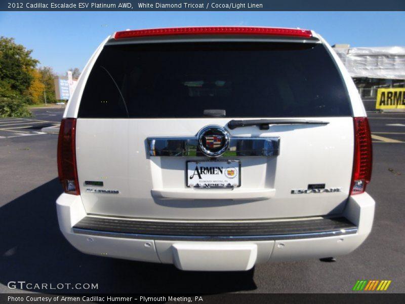 White Diamond Tricoat / Cocoa/Light Linen 2012 Cadillac Escalade ESV Platinum AWD