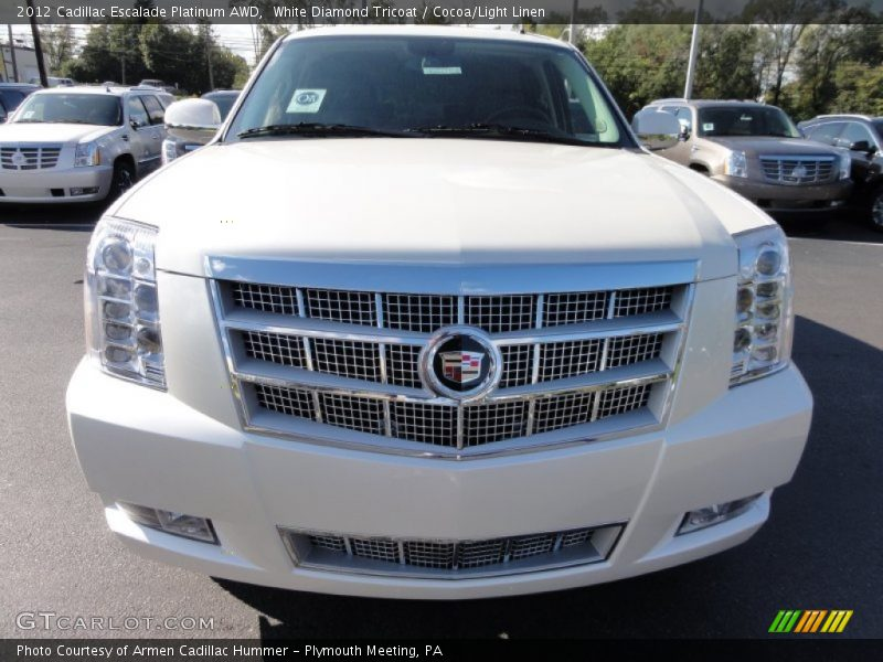 White Diamond Tricoat / Cocoa/Light Linen 2012 Cadillac Escalade Platinum AWD