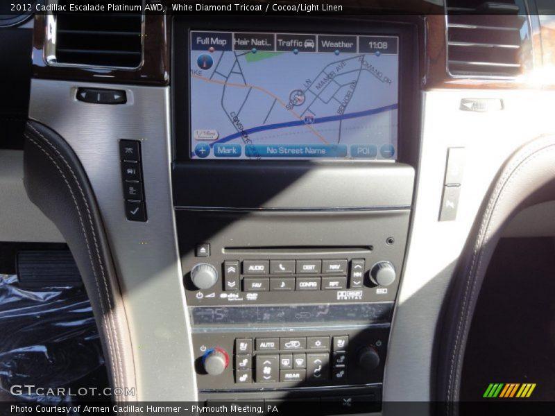 White Diamond Tricoat / Cocoa/Light Linen 2012 Cadillac Escalade Platinum AWD