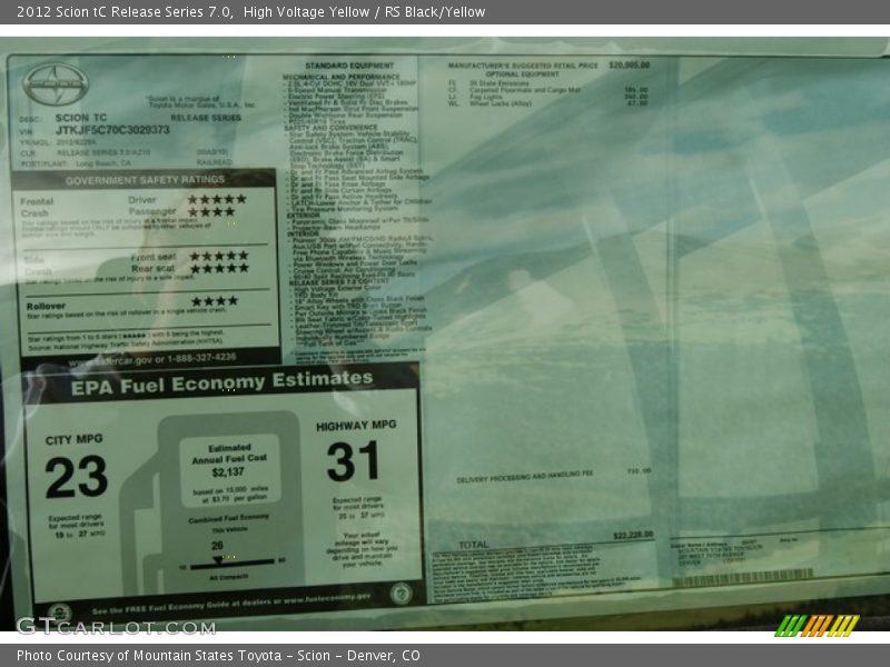 2012 tC Release Series 7.0 Window Sticker