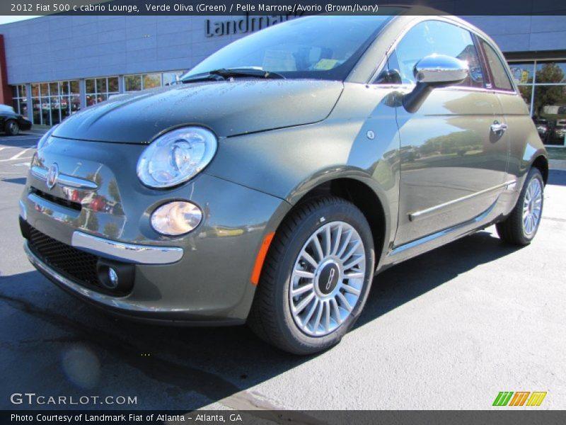 Verde Oliva (Green) / Pelle Marrone/Avorio (Brown/Ivory) 2012 Fiat 500 c cabrio Lounge