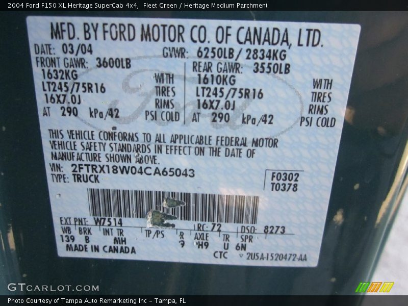 2004 F150 XL Heritage SuperCab 4x4 Fleet Green Color Code W7514