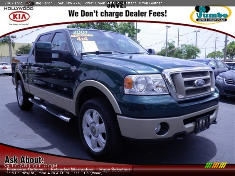 Forest Green Metallic / Castano Brown Leather 2007 Ford F150 King Ranch SuperCrew 4x4