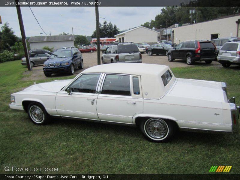 White / Burgundy 1990 Cadillac Brougham d'Elegance