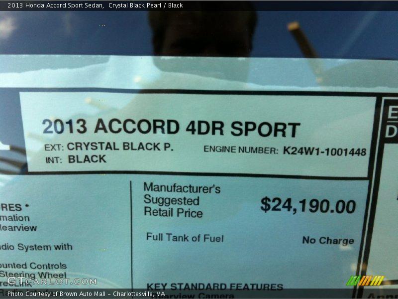 2013 Accord Sport Sedan Window Sticker
