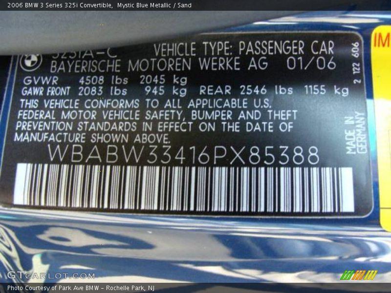 Mystic Blue Metallic / Sand 2006 BMW 3 Series 325i Convertible