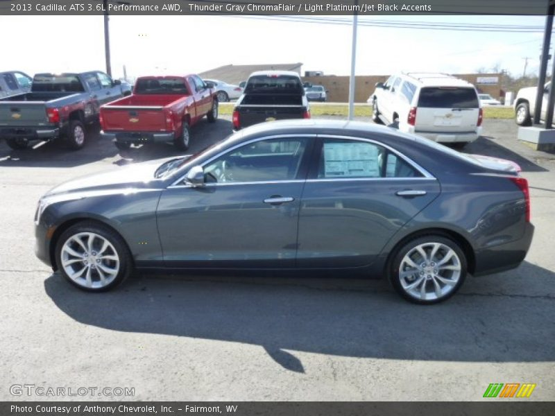 Thunder Gray ChromaFlair / Light Platinum/Jet Black Accents 2013 Cadillac ATS 3.6L Performance AWD