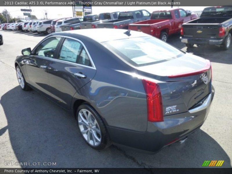 Thunder Gray ChromaFlair / Light Platinum/Jet Black Accents 2013 Cadillac ATS 3.6L Performance AWD