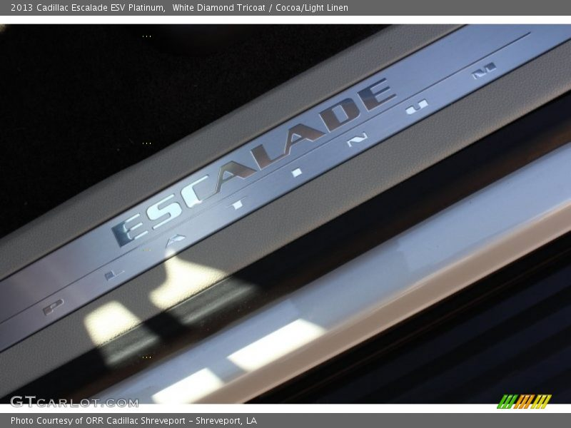 White Diamond Tricoat / Cocoa/Light Linen 2013 Cadillac Escalade ESV Platinum