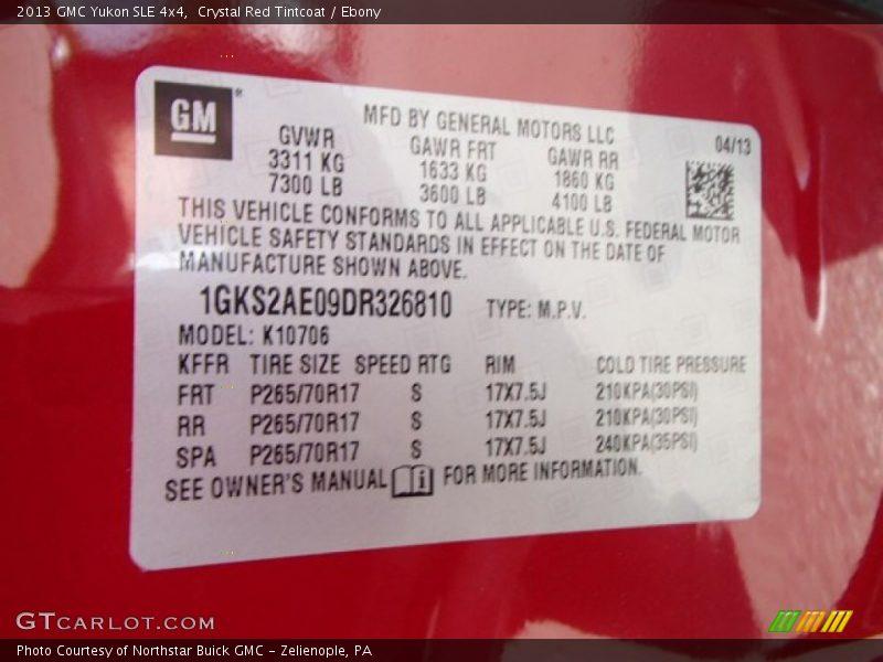 Crystal Red Tintcoat / Ebony 2013 GMC Yukon SLE 4x4