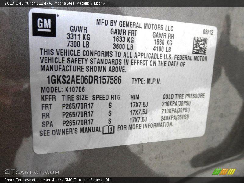 Mocha Steel Metallic / Ebony 2013 GMC Yukon SLE 4x4