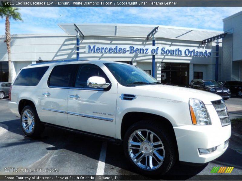 White Diamond Tricoat / Cocoa/Light Linen Tehama Leather 2011 Cadillac Escalade ESV Platinum