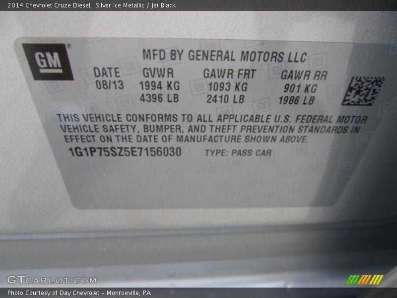 Silver Ice Metallic / Jet Black 2014 Chevrolet Cruze Diesel