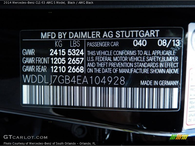 2014 CLS 63 AMG S Model Black Color Code 040