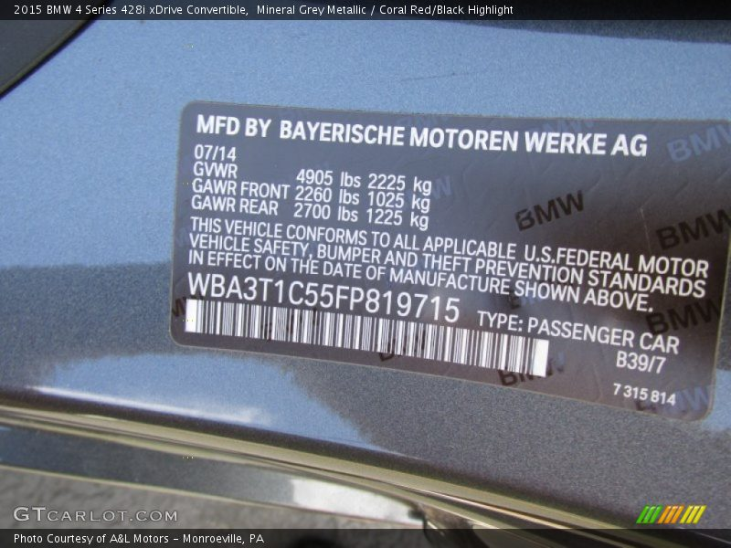 2015 4 Series 428i Xdrive Convertible Mineral Grey Metallic Color Code B39 Photo No 96341660