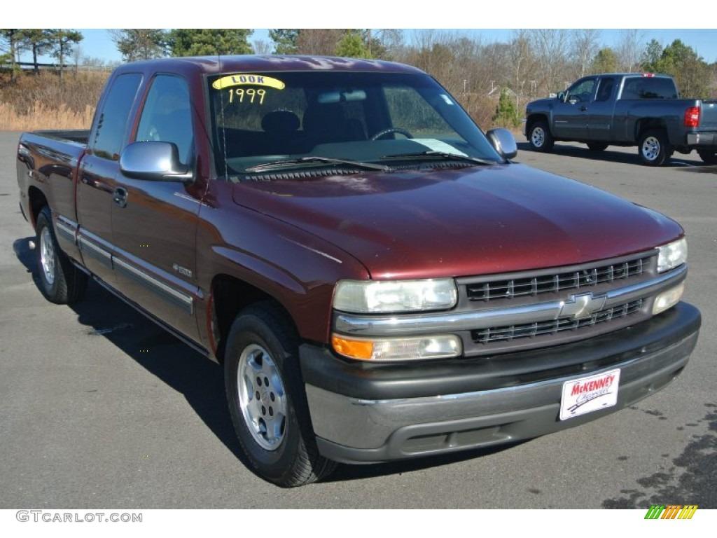 1999 Silverado 1500 LS Extended Cab - Dark Carmine Red Metallic / Graphite photo #1