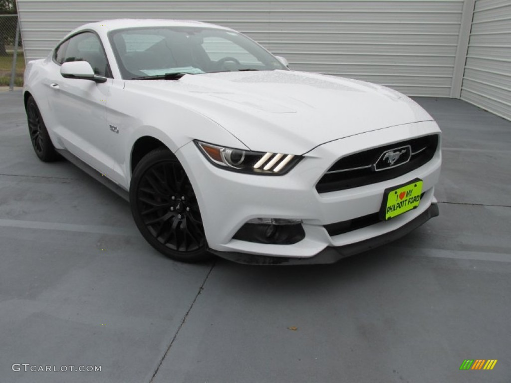 2015 Mustang GT Premium Coupe - Oxford White / 50 Years Raven Black photo #1