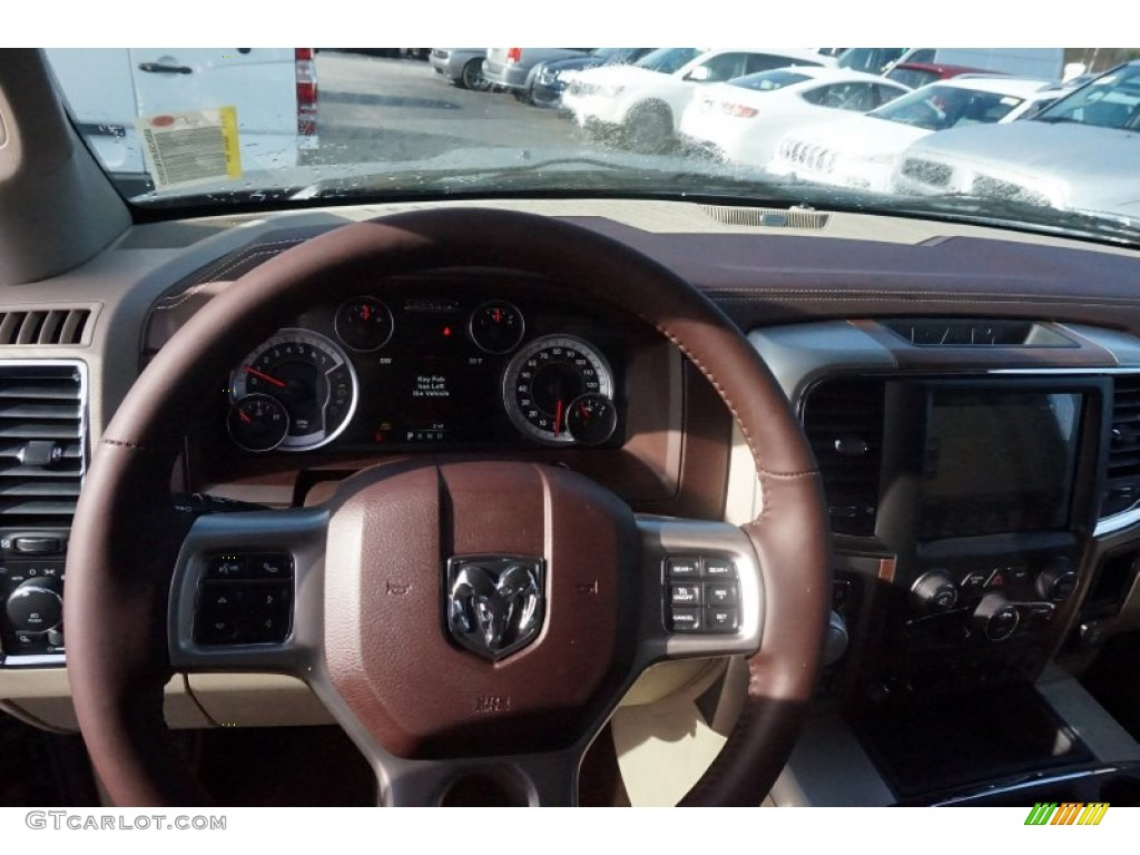 2015 1500 Laramie Quad Cab 4x4 - Prairie Pearl / Canyon Brown/Light Frost photo #8