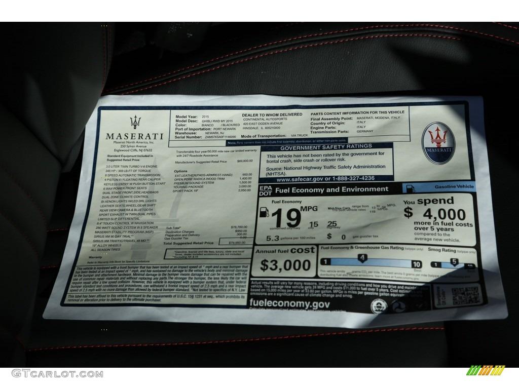 2015 Maserati Ghibli Standard Ghibli Model Window Sticker