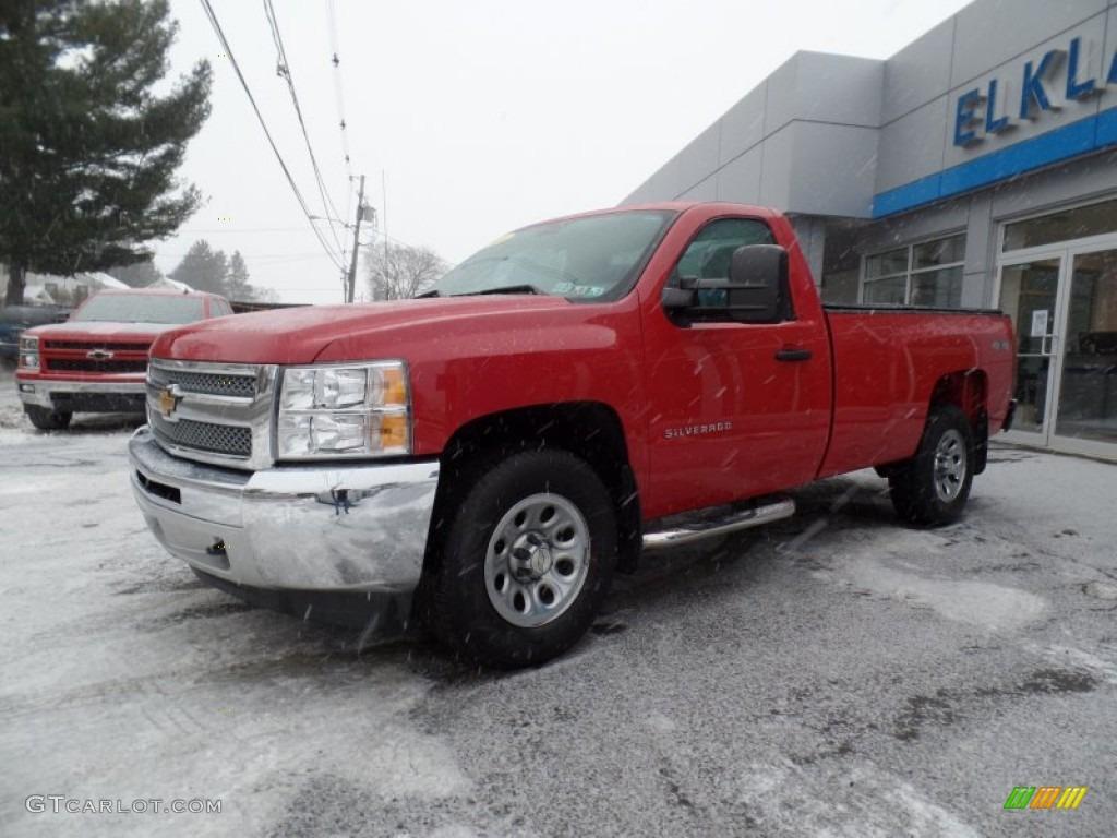 2013 Silverado 1500 Work Truck Regular Cab 4x4 - Victory Red / Dark Titanium photo #1
