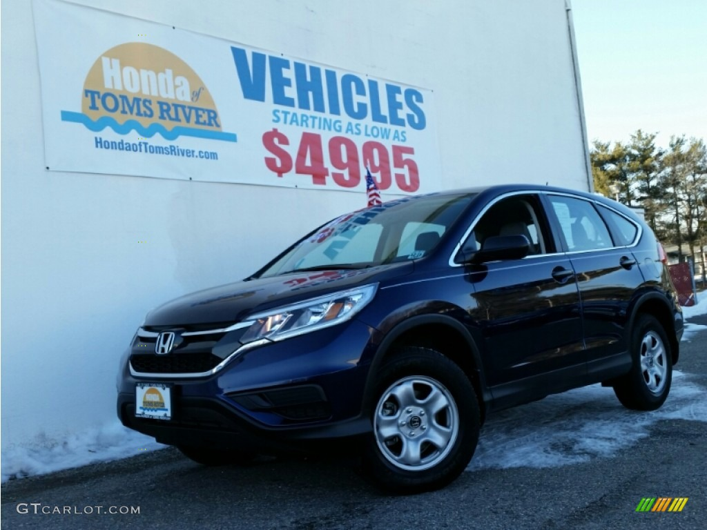 2015 CR-V LX AWD - Obsidian Blue Pearl / Gray photo #1