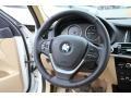 2015 BMW X3 Sand Beige Interior Steering Wheel Photo