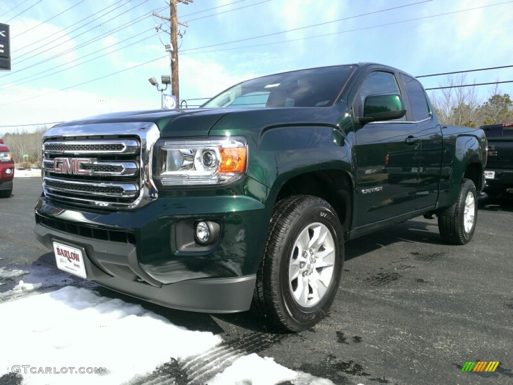 2015 emerald green metallic gmc canyon sle extended cab 4x4  102050198