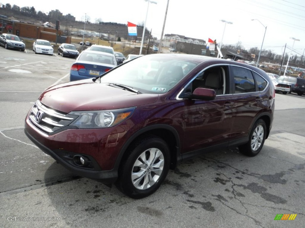 2013 CR-V EX AWD - Basque Red Pearl II / Gray photo #6