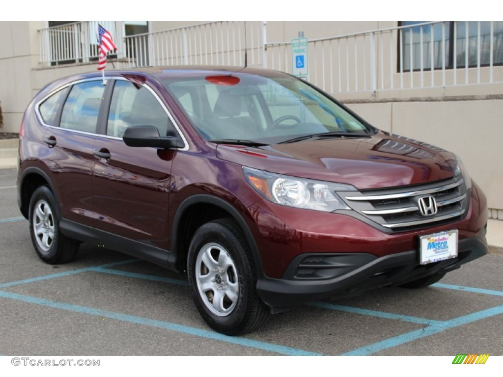 2013 CR-V LX AWD - Basque Red Pearl II / Gray photo #3