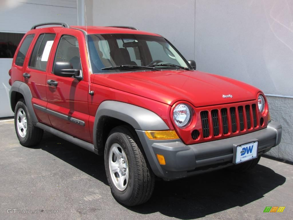 2006 inferno red pearl jeep liberty sport 4x4 10229169. Black Bedroom Furniture Sets. Home Design Ideas