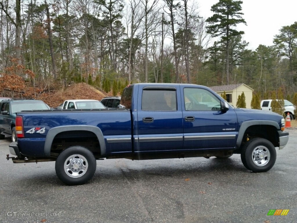 Indigo Blue Metallic 2002 Chevrolet Silverado 1500 LS Crew Cab 4x4 Exterior Photo #102602519
