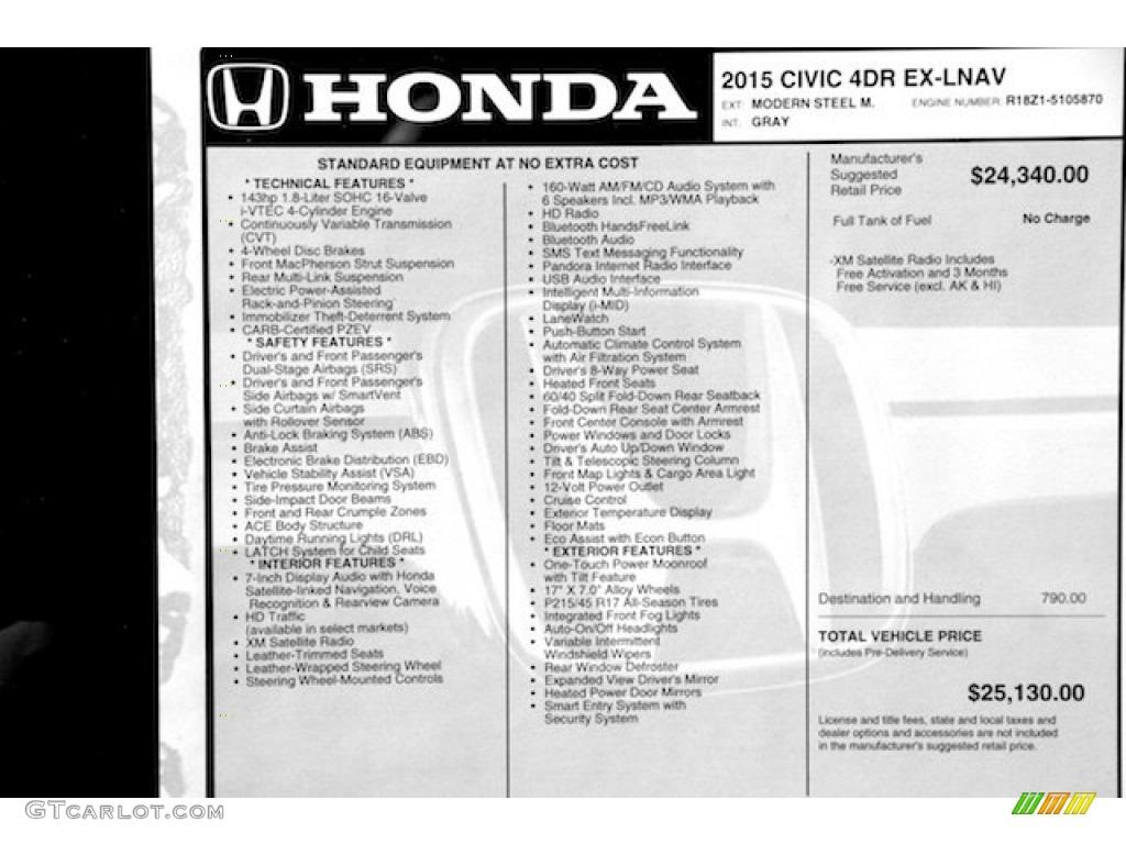 2015 Honda Civic Ex L Sedan Window Sticker Photos