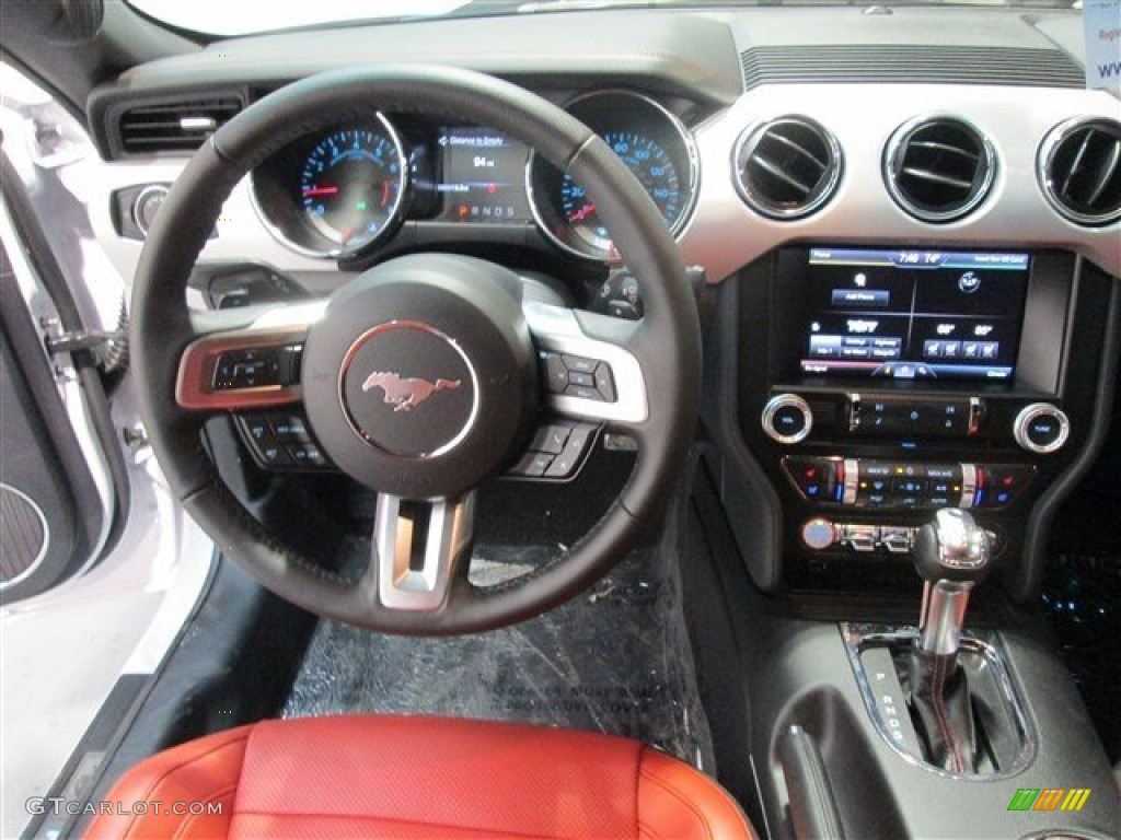 2015 Mustang GT Premium Coupe - Oxford White / Red Line photo #9