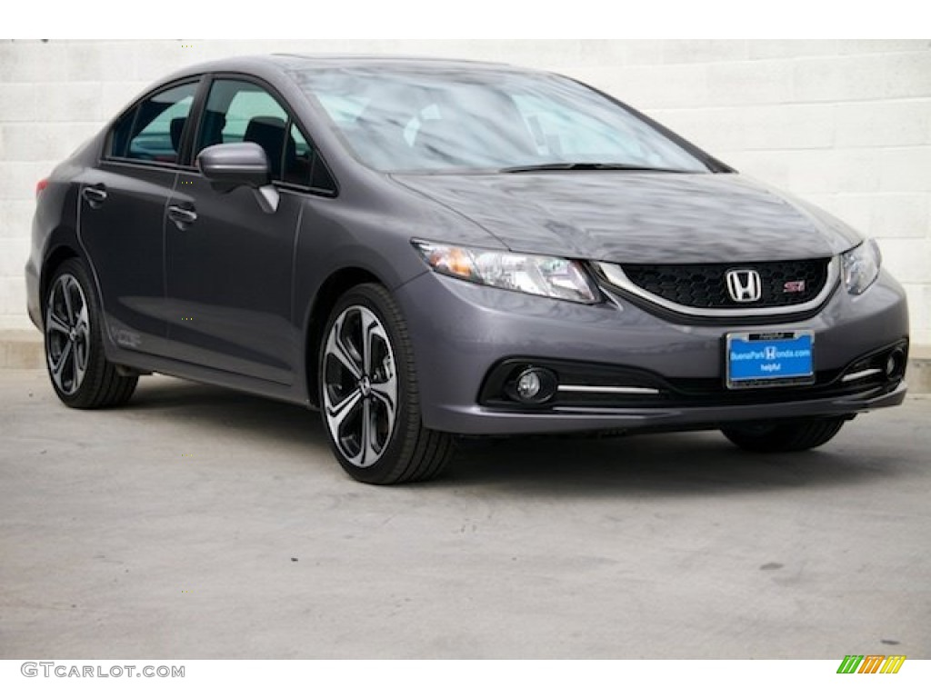 2015 Civic Si Sedan - Modern Steel Metallic / Si Black/Red photo #1