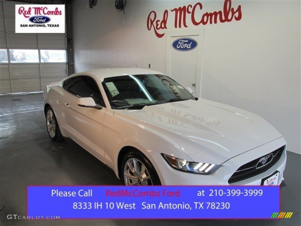 2015 Mustang EcoBoost Premium Coupe - Oxford White / 50 Years Raven Black photo #1