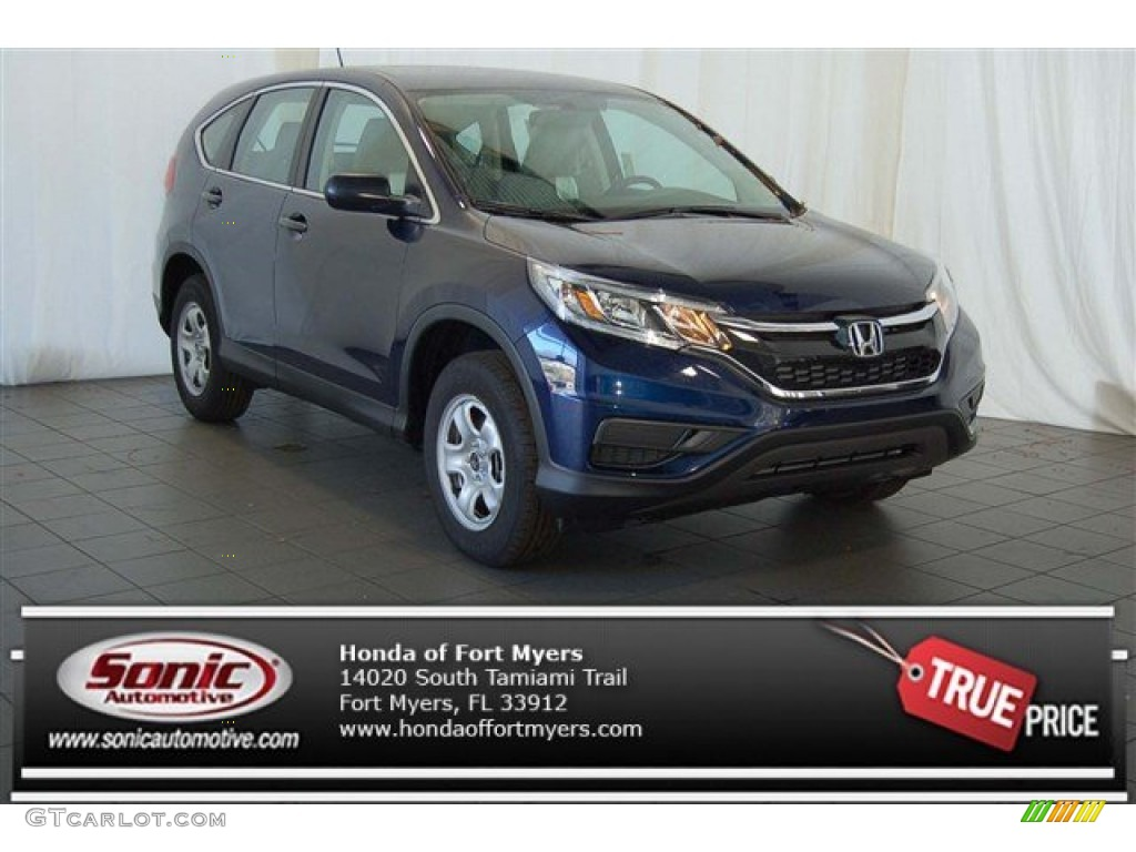2015 CR-V LX - Obsidian Blue Pearl / Gray photo #1