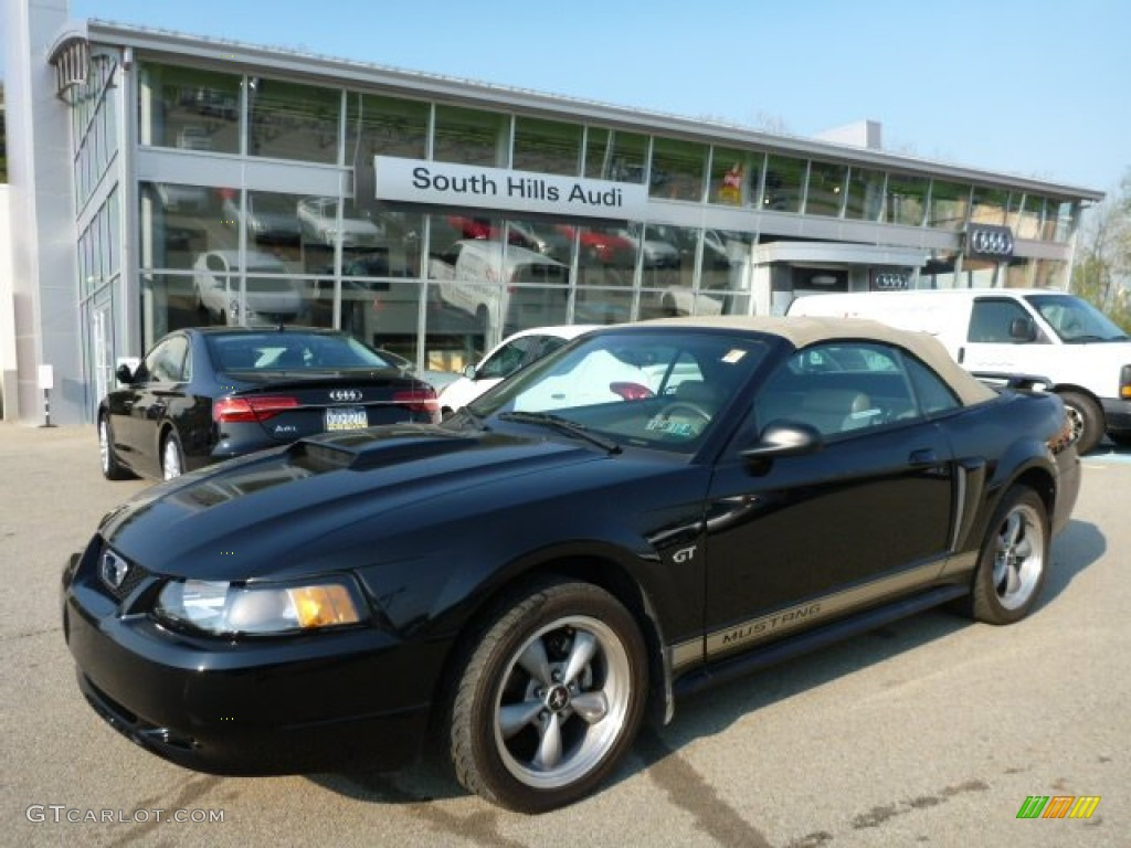2002 Mustang GT Convertible - Black / Medium Parchment photo #1