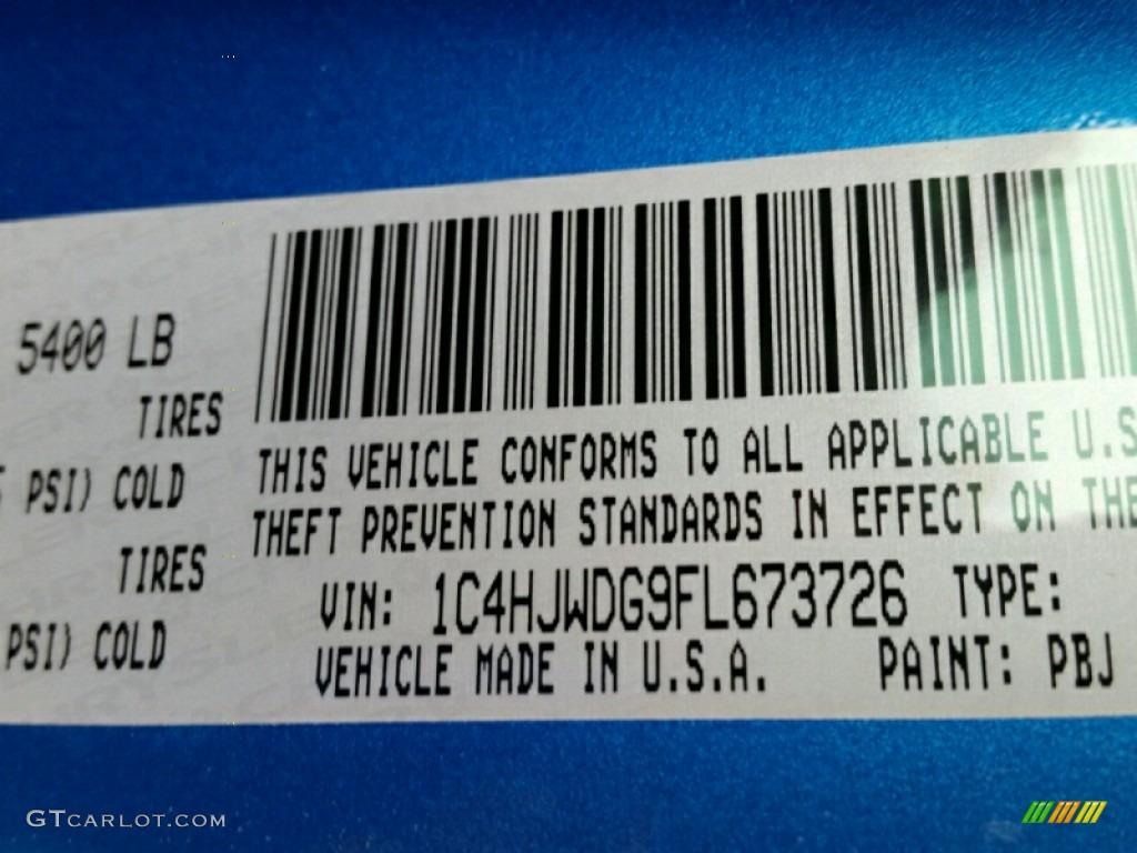 2015 Wrangler Unlimited Color Code PBJ for Hydro Blue ...