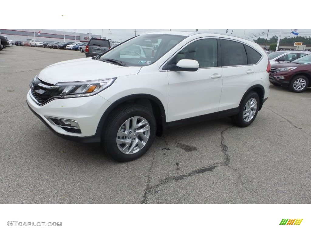 2015 CR-V EX-L AWD - White Diamond Pearl / Beige photo #4
