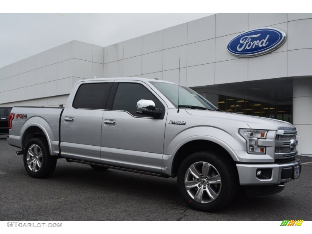 2015 ingot silver metallic ford f150 platinum supercrew 4x4 104439862 car. Black Bedroom Furniture Sets. Home Design Ideas
