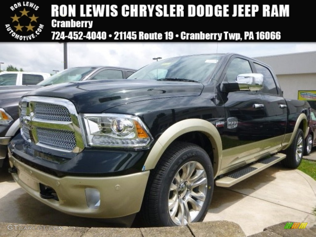 2015 1500 Laramie Long Horn Crew Cab 4x4 - Black Forest Green Pearl / Canyon Brown/Light Frost photo #1