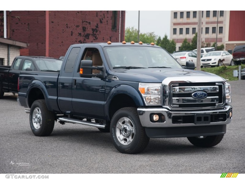 2015 F250 Super Duty XLT Super Cab 4x4 - Blue Jeans / Adobe photo #1
