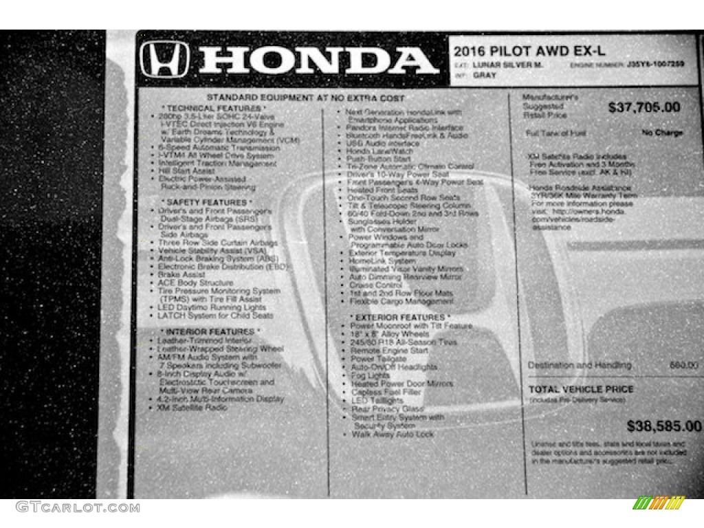 2016 Honda Pilot EX-L AWD Window Sticker Photo #105105366   GTCarLot ...