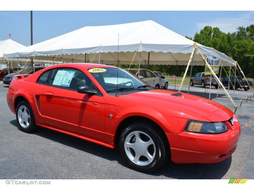 2002 Mustang V6 Coupe - Laser Red Metallic / Dark Charcoal photo #1