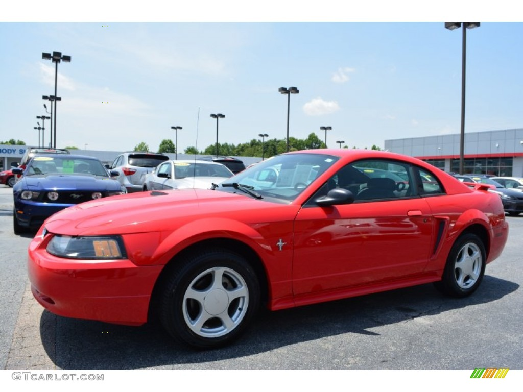 2002 Mustang V6 Coupe - Laser Red Metallic / Dark Charcoal photo #7